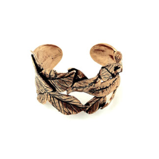 bracciale-ottone dorato-foglie-leaves-fatto a mano-Gold plated brass-bracelet-hand made-matteo macallè