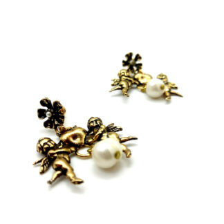 orecchini-earrings-perlapearl-ottone dorato-gold plated brass-cherupidini-angeli-angels