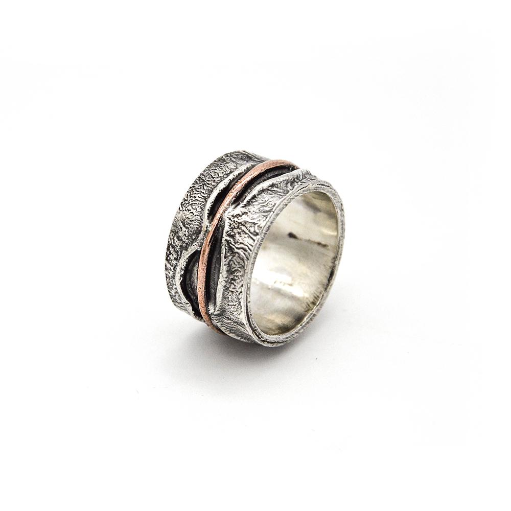 Anello-argento 925-linea-fatto a mano-rame-silver-ring