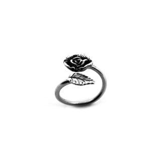 Anello-argento 925-fiore rosa-foglia-fatto a mano-donna-sterling silver-handmade