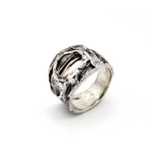Anello-argento 925-bruciato-cratere-fatto a mano-donna-sterling silver-ring-handmade-burned