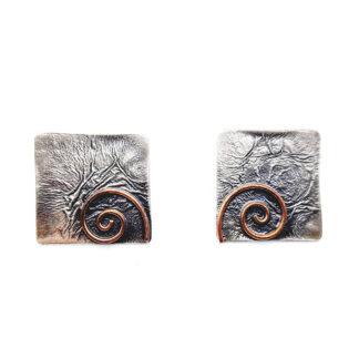 orecchini-collana-argento 925-fatto a mano-sterling silver-earrings-hand made-matteo macallè-spiral-spirale-rame-copper-quadrati