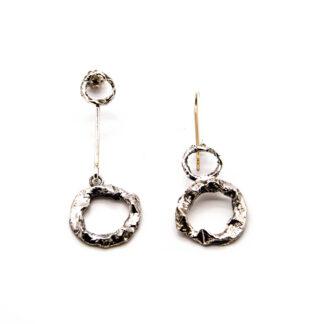 orecchini-collana-argento 925-fatto a mano-sterling silver-earrings-hand made-matteo macallè-cerchi-circle-asimmetrici