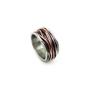 Anello 925-argento-mille fili-fatto a mano-sterling siler-ring-wires-rame-copper