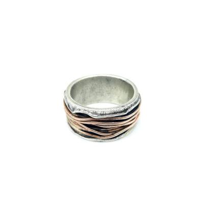 Anello 925-argento-mille fili-fatto a mano-sterling siler-ring-wires-rame-copper