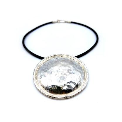 pendente argento 925, fatto a mano, girocollo, cordino in cuoio, fatto a mano, matteo macallè