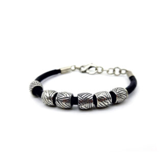bracciale uomo-cuoio-argento 925-sterling silver bracelet-leather cord