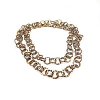 collana-ottone dorato-cerchi-circle-hammered-martellati-fatto a mano-Gold plated brass-necklace-hand made-matteo macallè