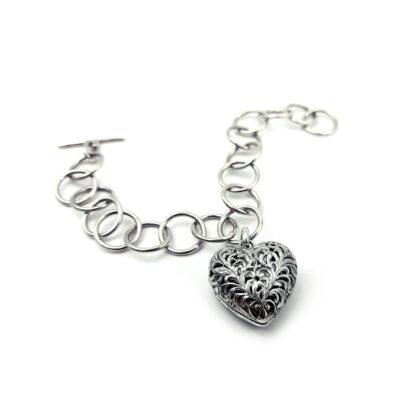 Bracciale-pendente cuore-chiusura t-bar--cuore-fatto a mano-sterling silver-bracelet-hand made-matteo macallè