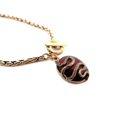 collana-ottone dorato-corniola-serpente-snake-stone-fatto a mano-Gold plated brass-necklace-hand made-matteo macallè