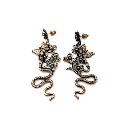 orecchini-ottone dorato-foglie-leaves-fatto a mano-Gold plated brass-earrings-hand made-matteo macallè-labradorite-farfalla-serpente-butterfly-snake-flower